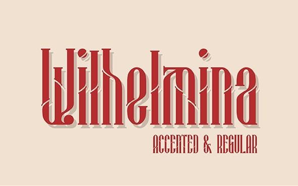 Wilhelmina创意断线衬线logo英文字体下载