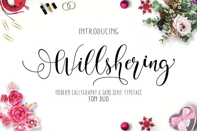 Willshering Script婚纱摄影海报手写连笔英文字体下载