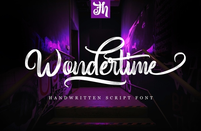 Wondertime笔触手写连笔英文字体下载