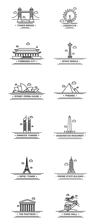 世界建筑 地标 线描icon 故宫 长城 金字塔源文件矢量下载