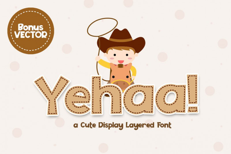 Yehaa!手写卡通儿童趣味线条英文字体下载