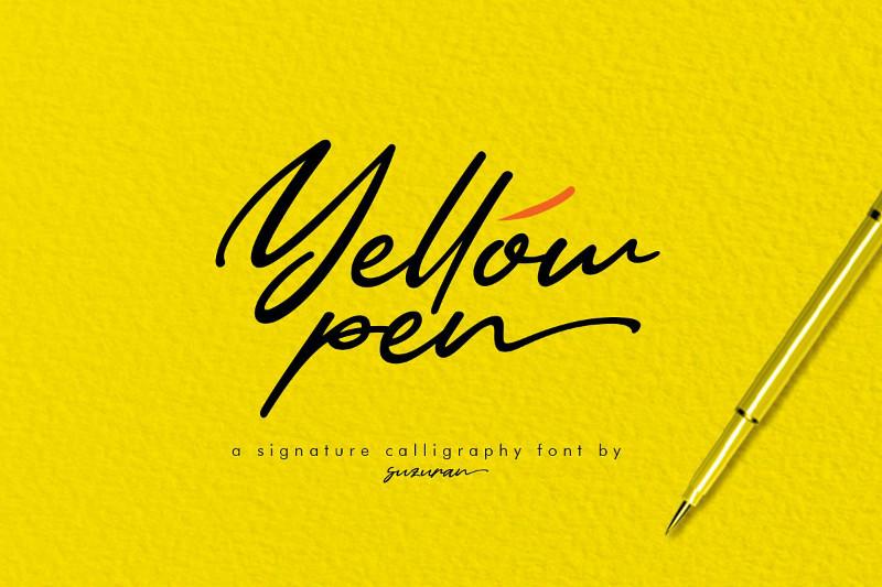 YellowPen手写油性笔签名英文字体下载