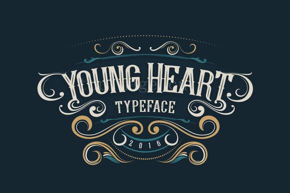 YoungHeart复古罗马质感个性衬线海报英文字体下载