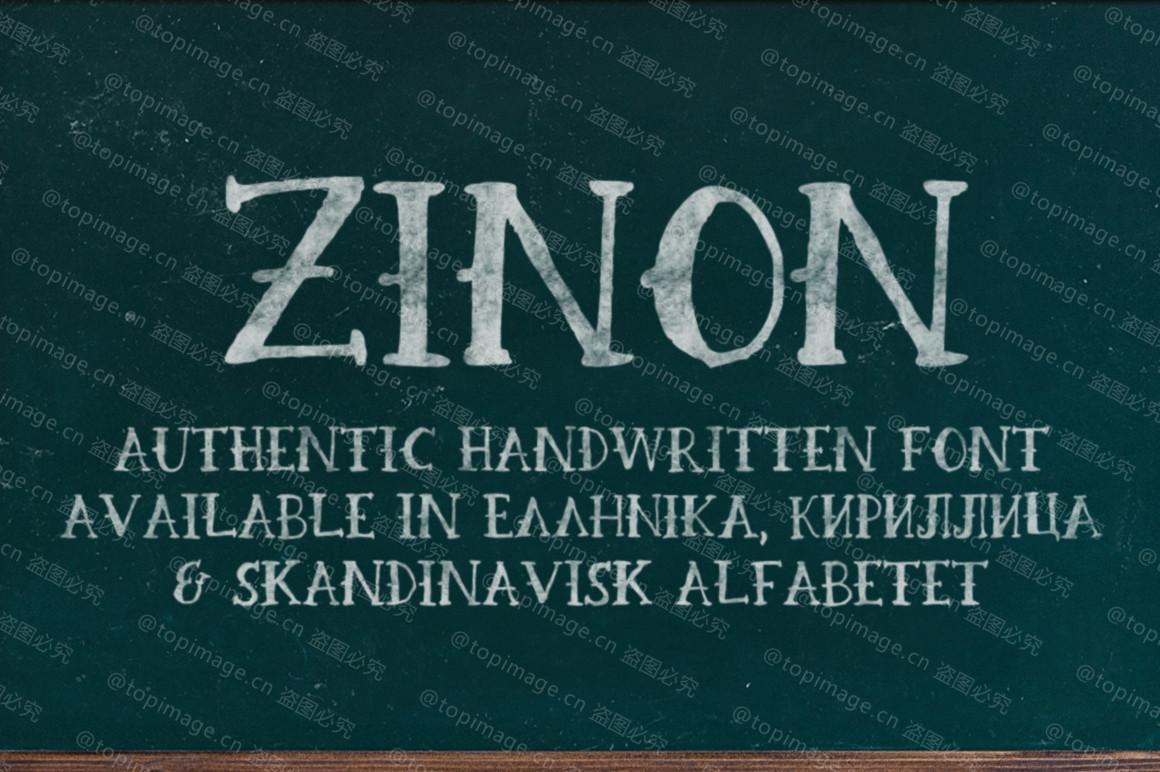Zinon破旧肌理笔刷个性化海报英文字体下载