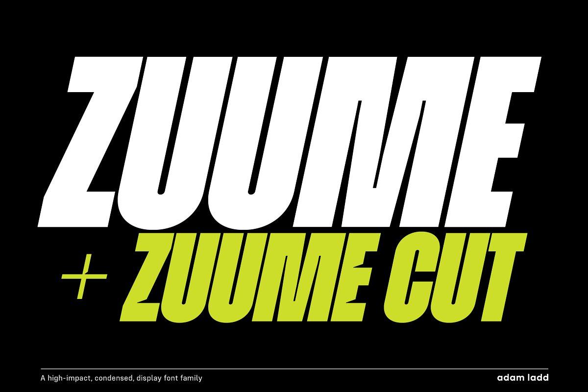 Zuume现代粗狂健身运动logo英文字体下载