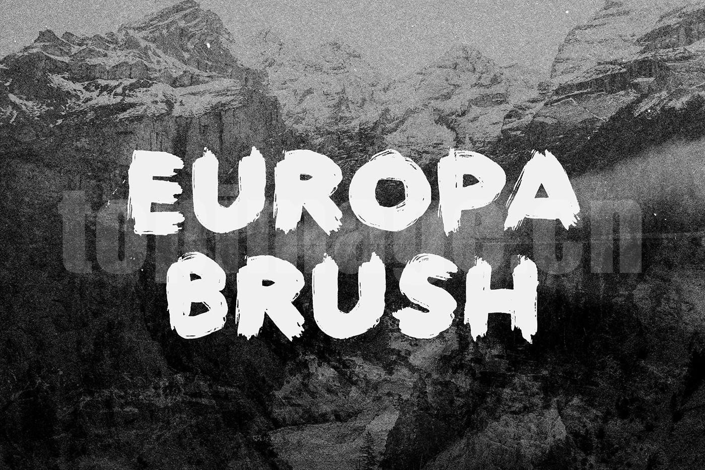 Europa手绘书法英文字体艺术笔刷下载