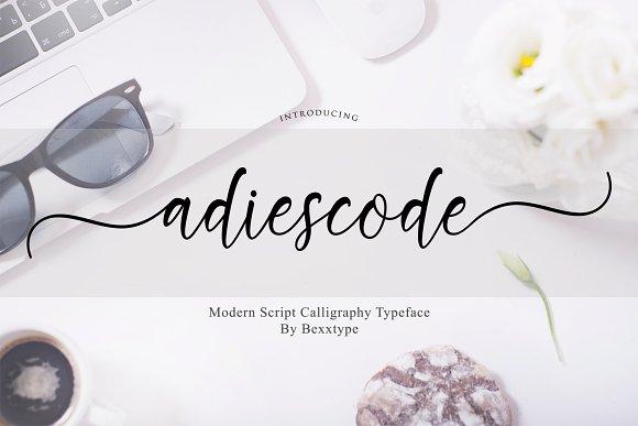 adiescode时尚手写连笔花式英文字体下载
