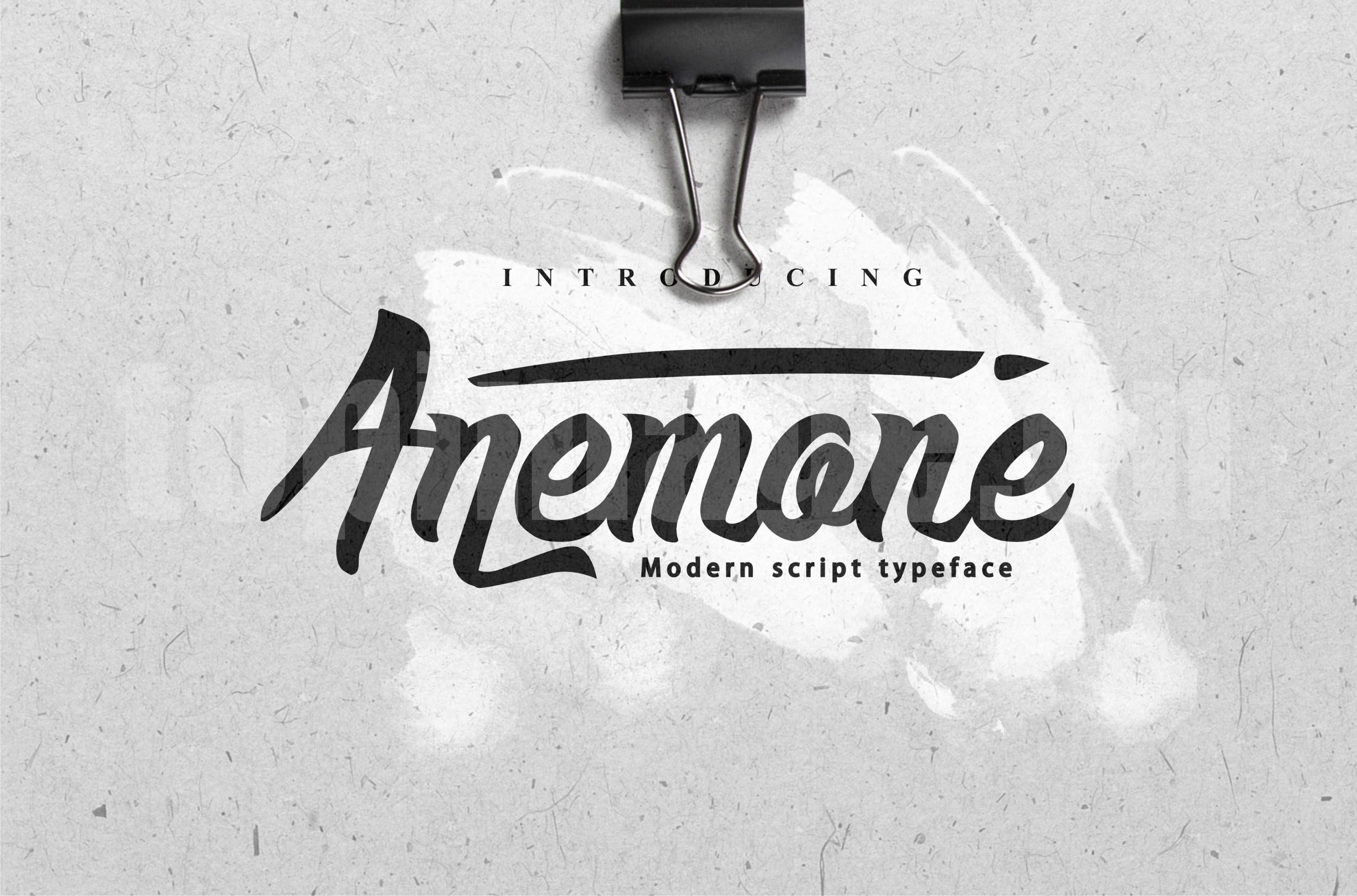 Anemone手写手绘书法艺术飘逸英文字体下载