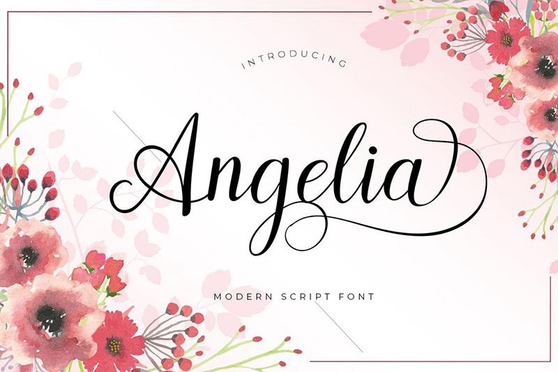 angelia飘逸好看婚纱海报英文字体下载