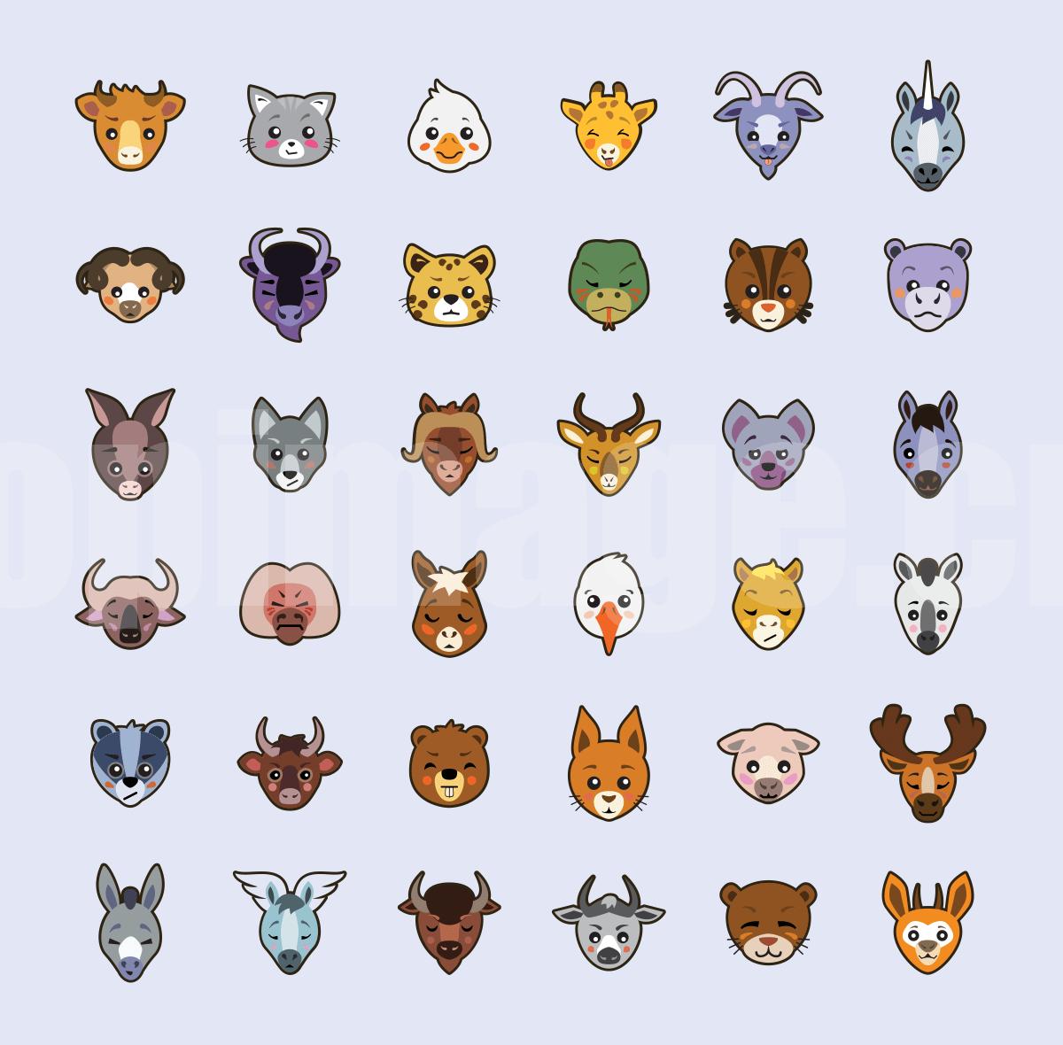 动物头像图标 幼儿园素材 马 鹿 猴子 山羊 矢量源文件icon下载