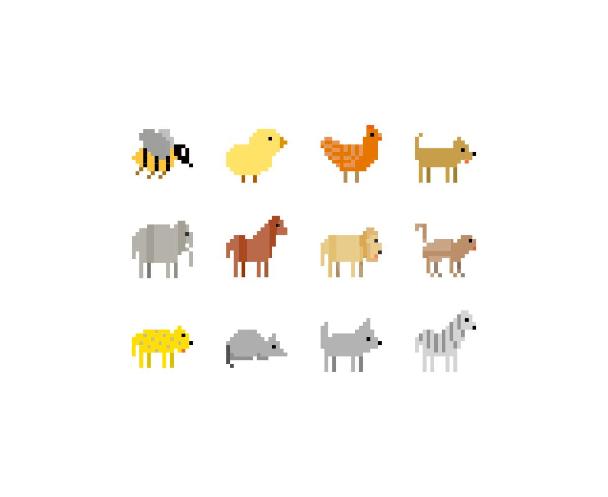 像素动物icon 狮子 大象 老鼠 蜜蜂图标下载