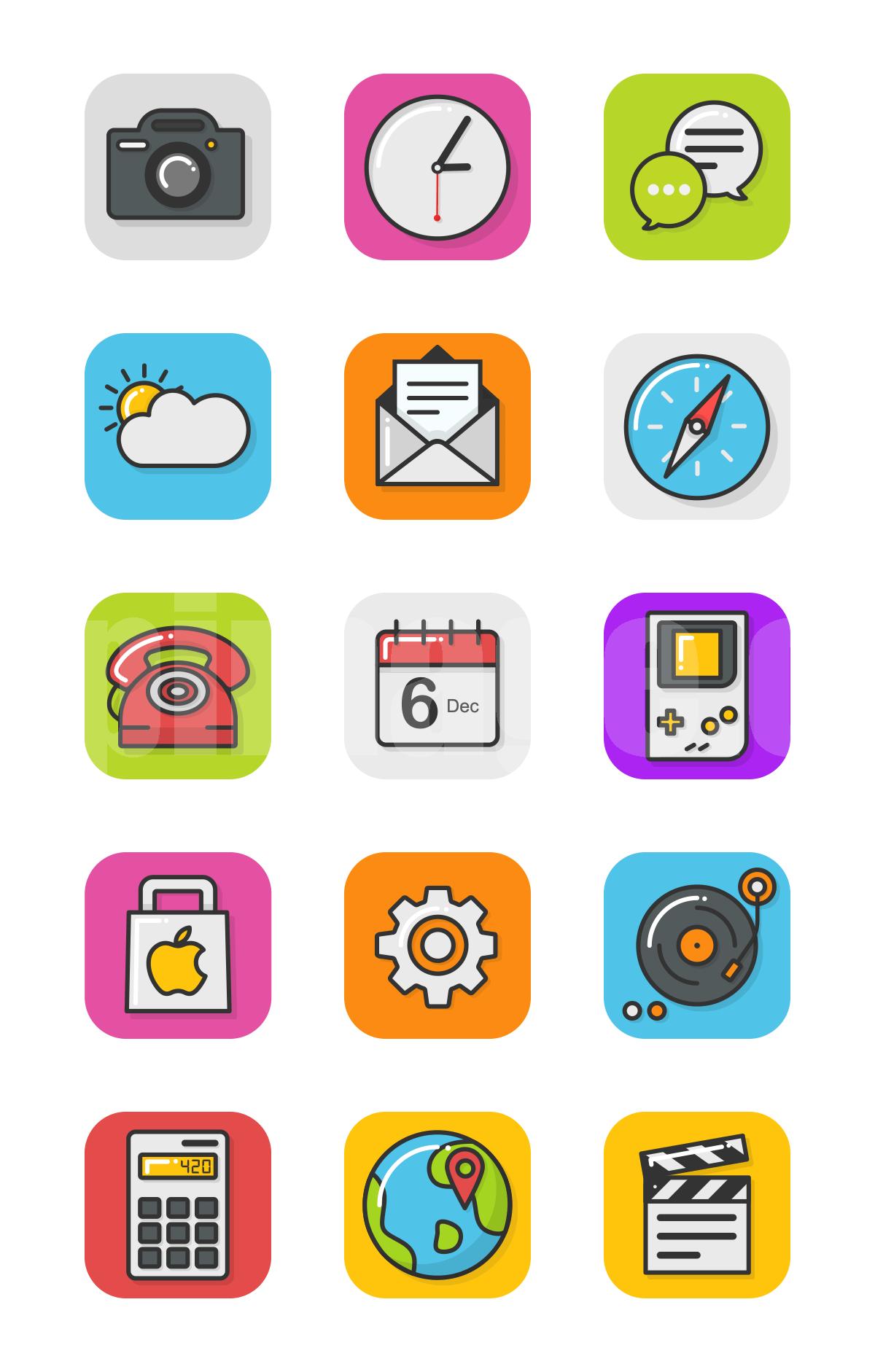 计算器 浏览器 视频 日历电话 教育相关 图标icon源文件下载
