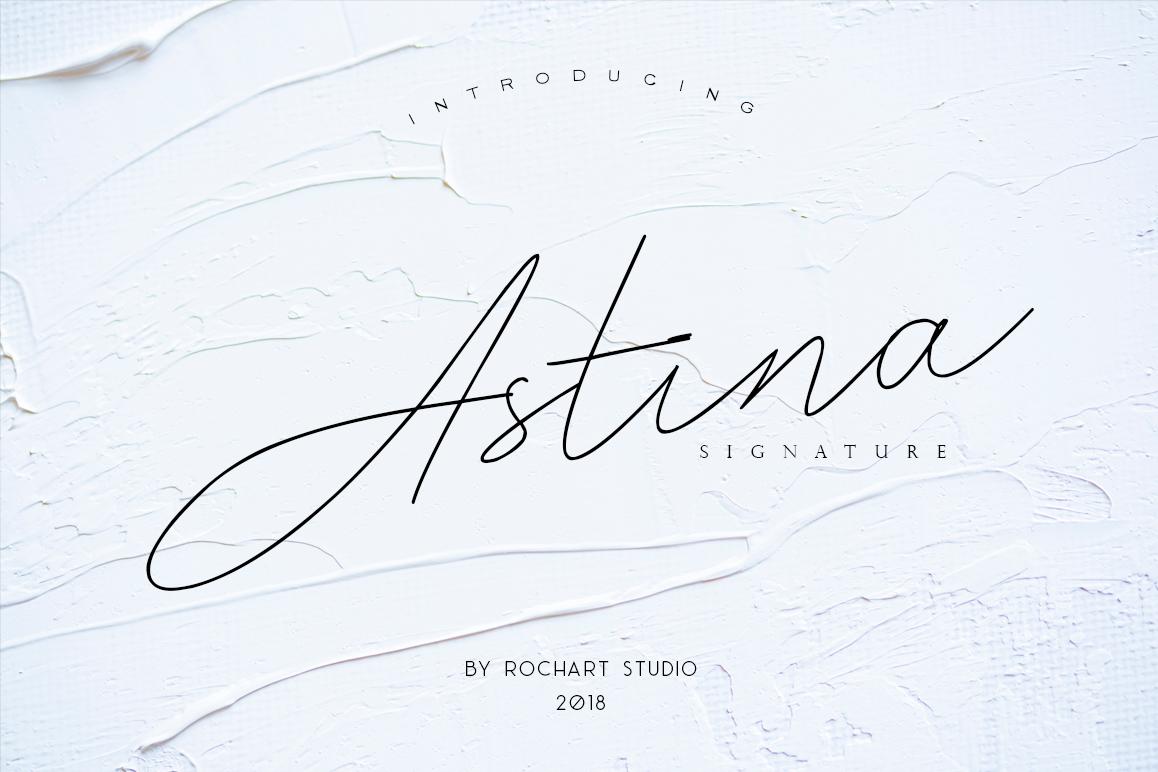 astina纤细手写连笔个性签名潮流海报英文字体