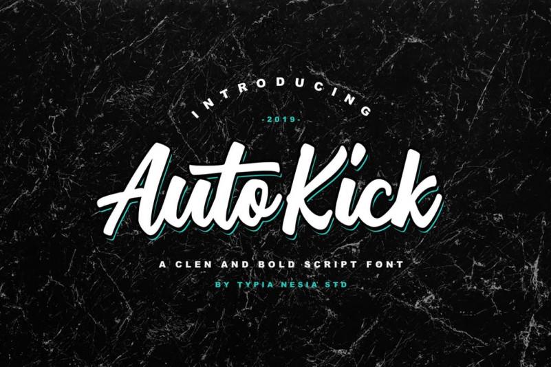 Auto Kick 手写手绘时尚街头涂鸦英文字体下载