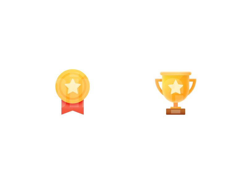 奖杯勋章矢量图标icon扁平化下载