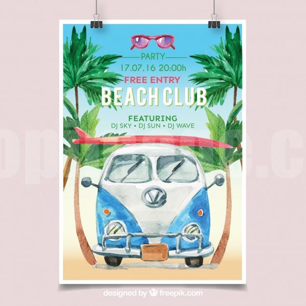 夏日沙滩海滨汽车旅行海报banner单页下载源文件