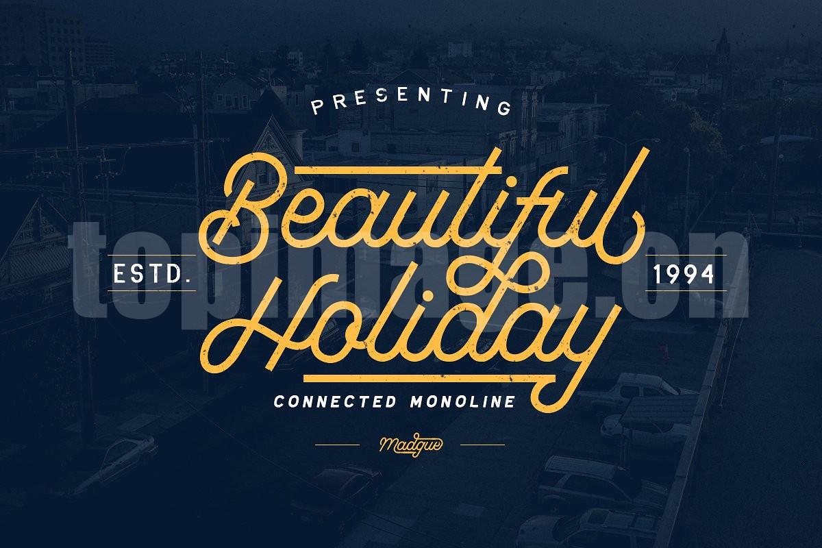 beautiful_holiday假期主题现代破损质感简洁英文字体连笔下载