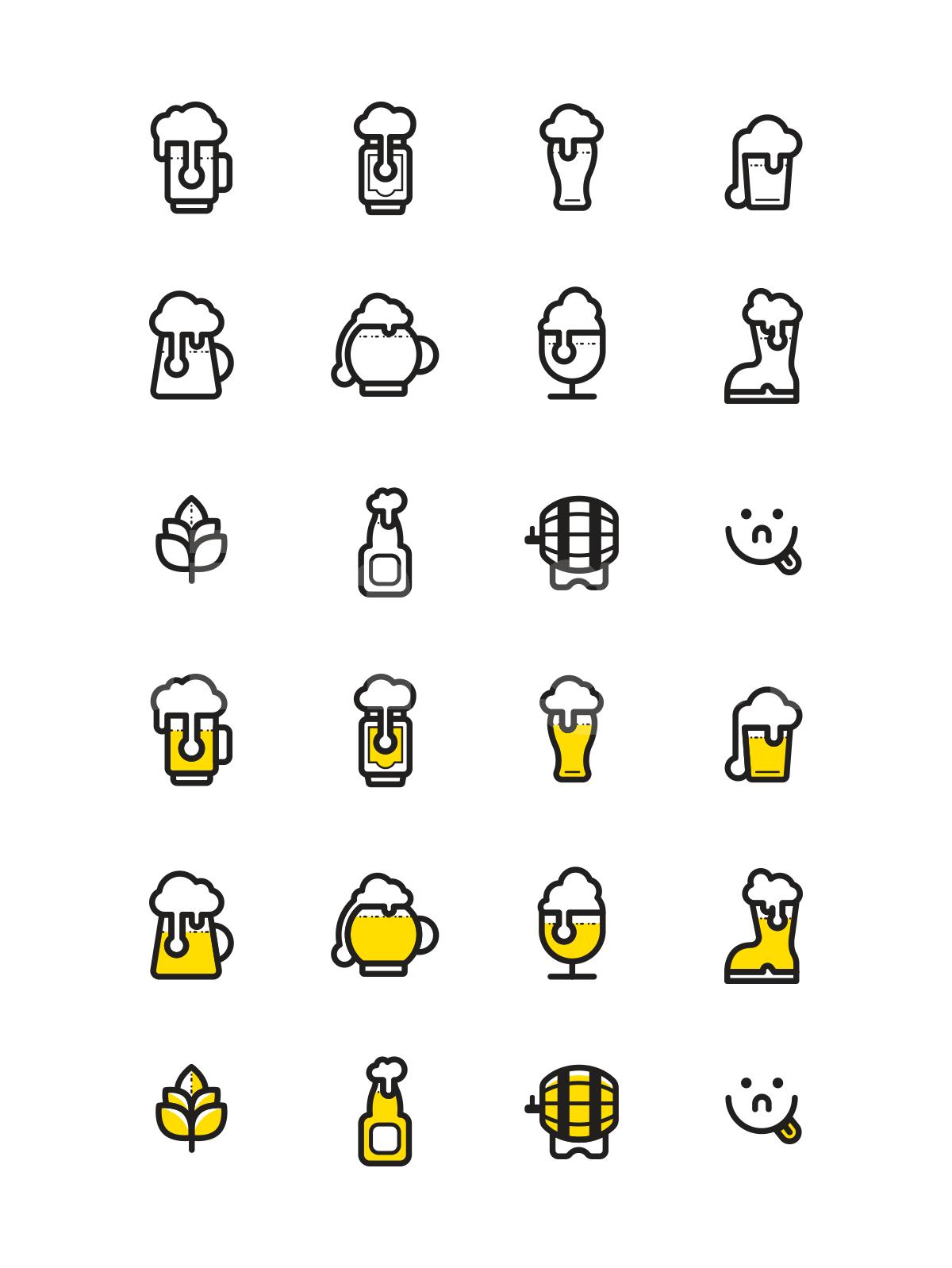 啤酒图标icon线性源文件下载