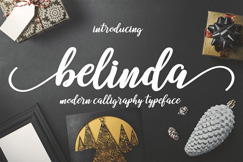 belinda手写手绘花体飘逸连笔包装名片英文字体下载