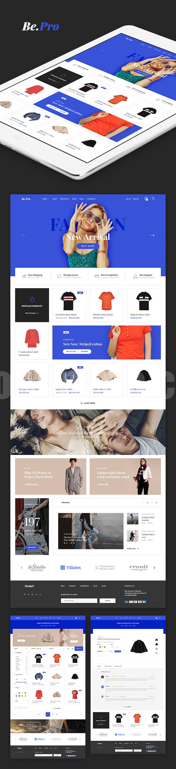 国外极简时尚女装网页模板psd源文件下载