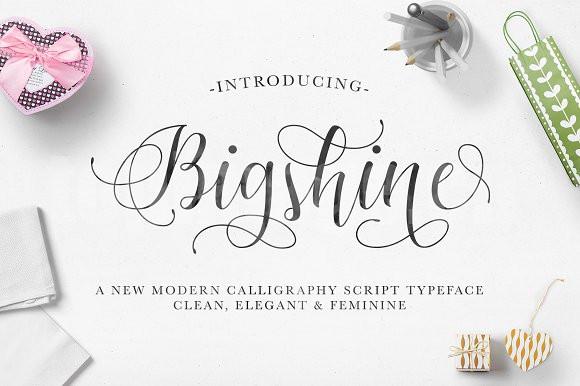 bigshine连笔书法好看的英文字体下载