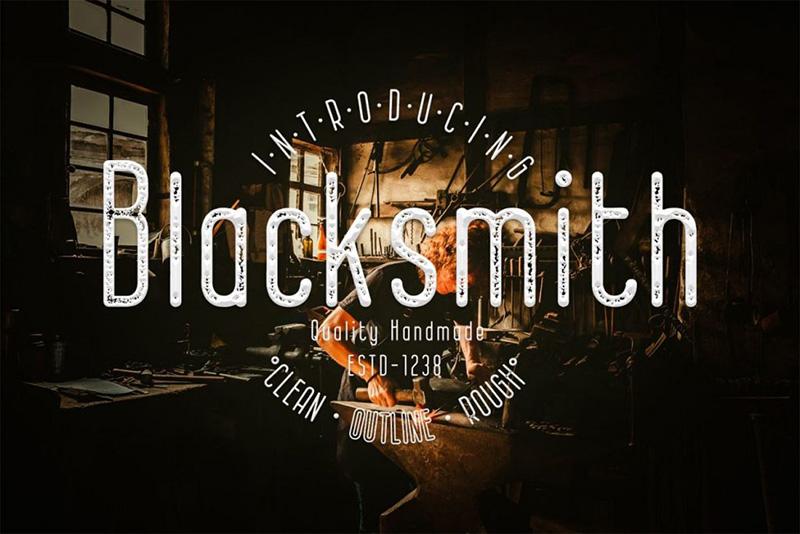 blacksmith徽标店标破损复古英文字体下载
