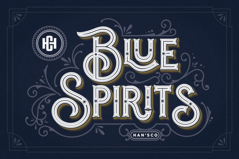 Blue Spirits 哥特个性手写纹身连笔英文字体下载