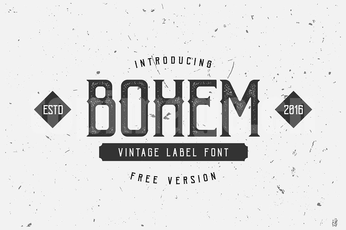 BohemPress简约个性化斑驳质感艺术英文字体下载