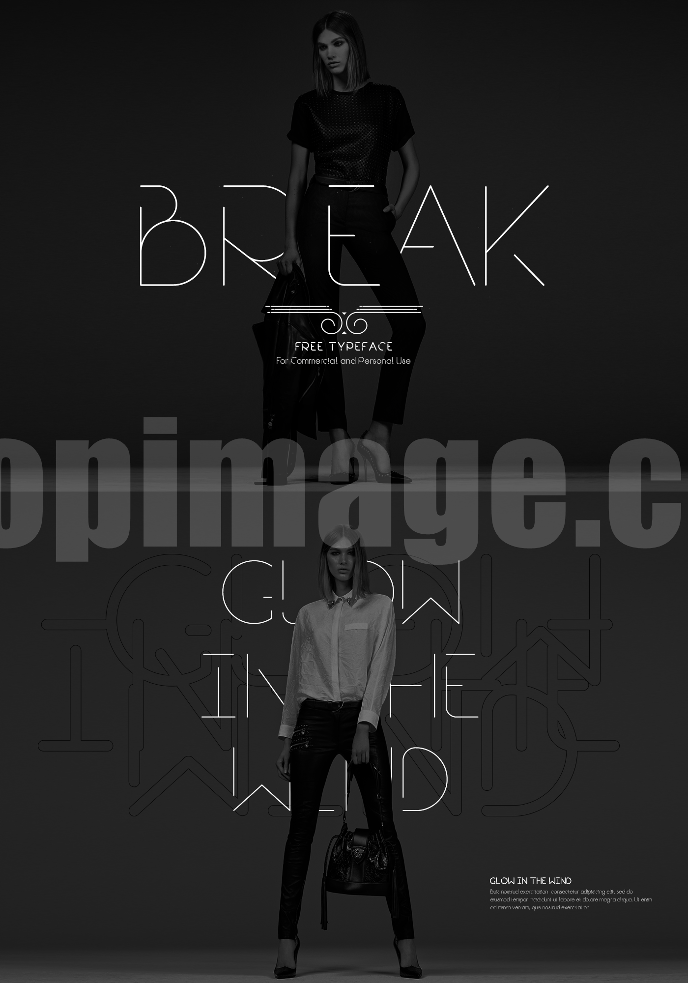 break极简纤细时尚英文字体适合logo素材下载