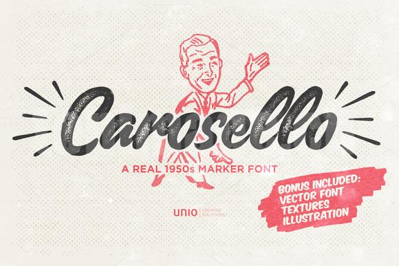 carosello手绘手写书法笔刷蜡笔英文字体下载