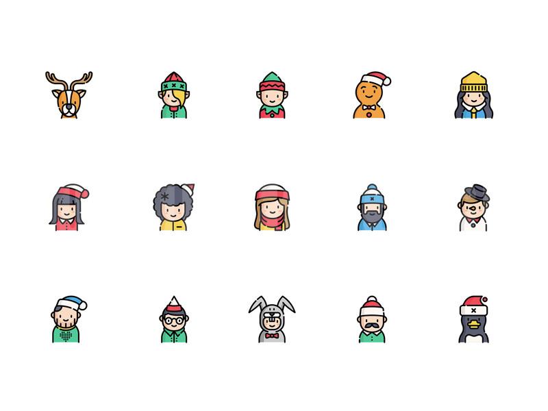 mbe 扁平 矢量 圣诞节 头像 卡通sketch 模板图标icon矢量下载