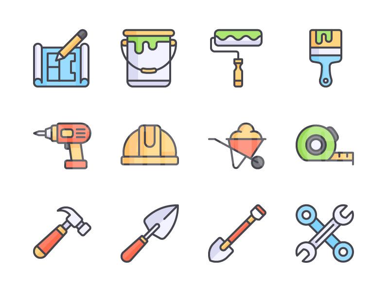 建筑工人 工具 锤子 铁锹 扳手 手推车 安全帽 电钻 油漆桶图标icon下载