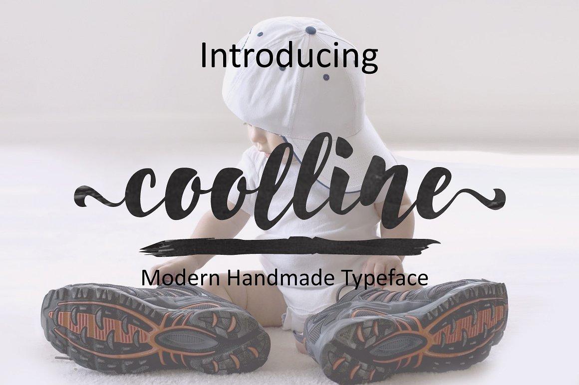 coolline创意简约摄影海报手写笔刷连笔英文字体下载
