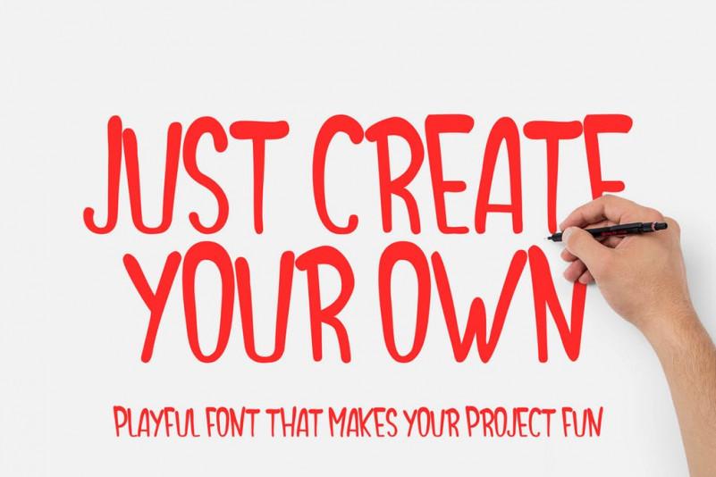 Create Your Own手写卡通涂鸦pop英文海报字体下载