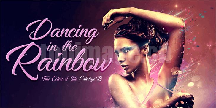 Dancing in the Rainbow手写手绘连笔飘逸海报英文艺术字体下载