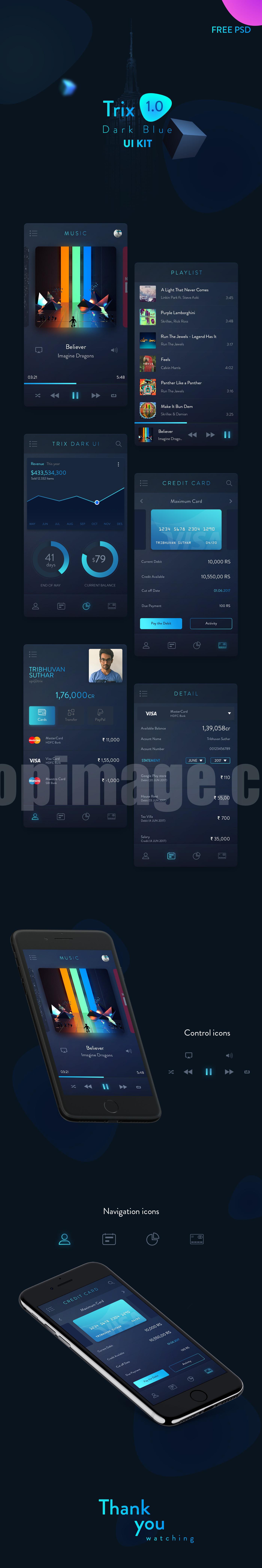 移动app播放器 银行卡 金融 UI kit源文件下载