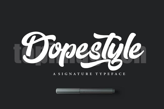 dopestyle连笔飘逸海报英文艺术字体下载