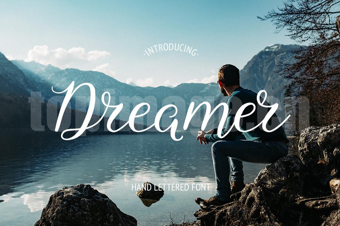 dreamer手写手绘连笔飘逸质感海报英文艺术字体下载
