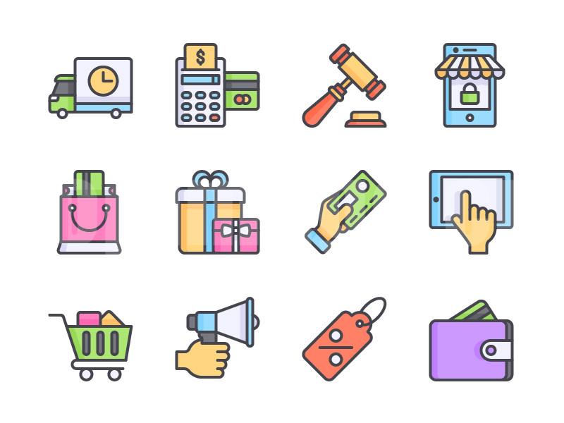 电子商务 货车 包裹 购物车 锤子 钱包icon图标下载