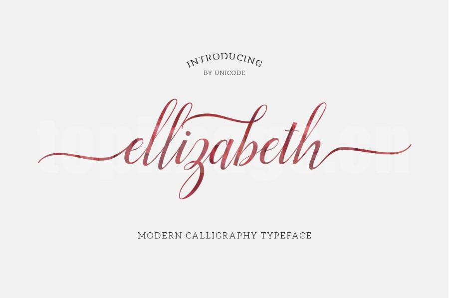 elligabeth手写手绘连笔飘逸质感海报英文艺术字体下载