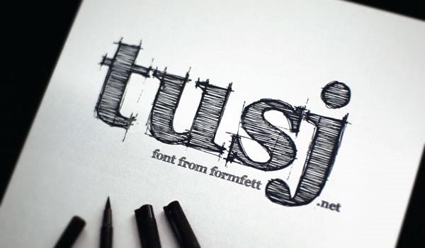 FFF Tusj手写手绘条纹艺术个性英文字体下载