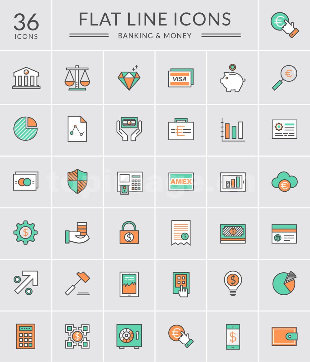 金融 计算器 钱包 钱币 美元 图表 储钱罐扁平flat图标icon源文件下载