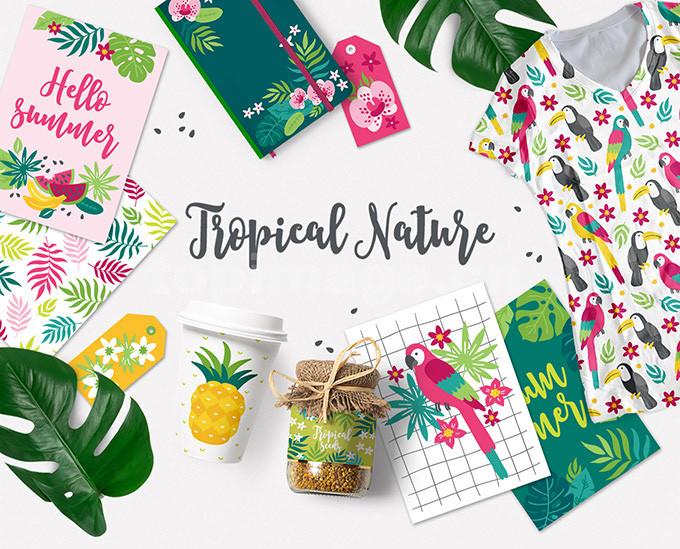 花卉图案 热带植物 树叶 婚礼唯美素材 动物图案eps矢量源文件下载