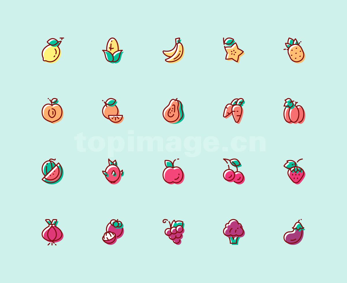 水果 蔬菜 火龙果 茄子 西瓜 葡萄 草莓 香蕉 苹果 菠萝 杨桃 图标icon源文件下载