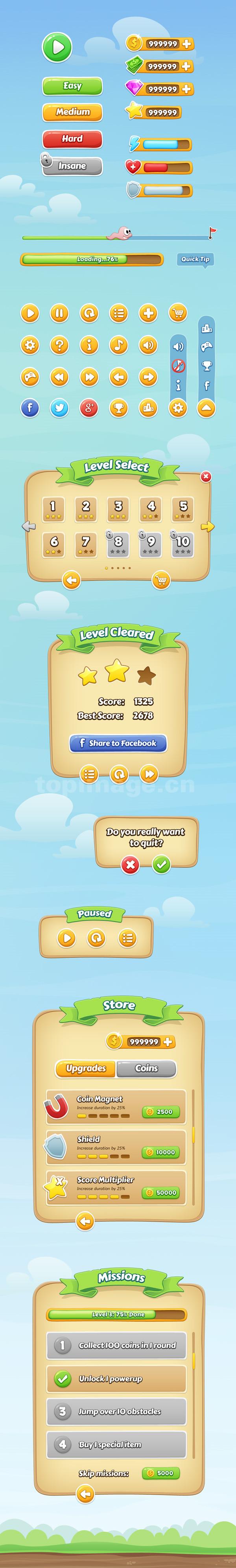 手机app游戏界面_icon_ 按钮_控件_界面_游戏字体_psd源文件下载