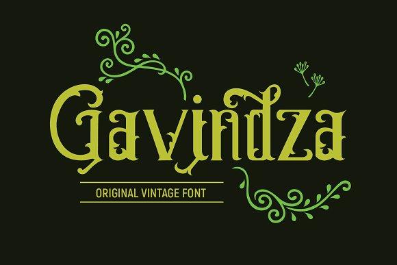 gavindza哥特复古纹身logo英文字体下载