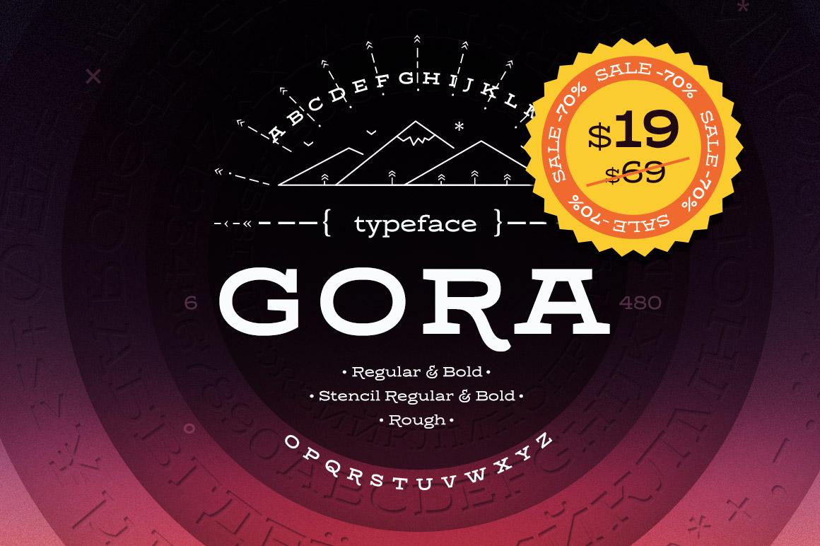 Gora现代纤细创意简约衬线英文字体下载