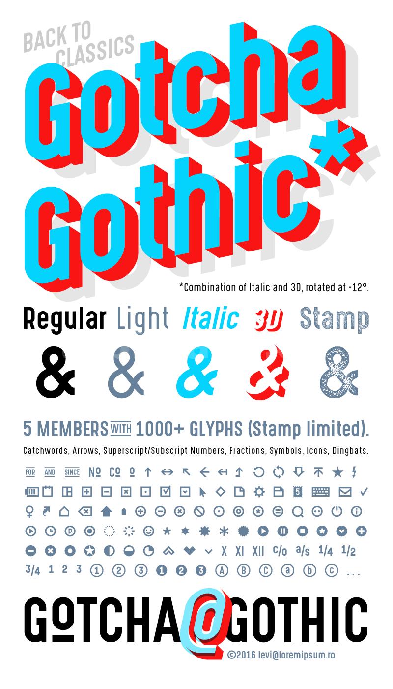 gotcha_gothic简约立体质感个性化艺术英文字体下载
