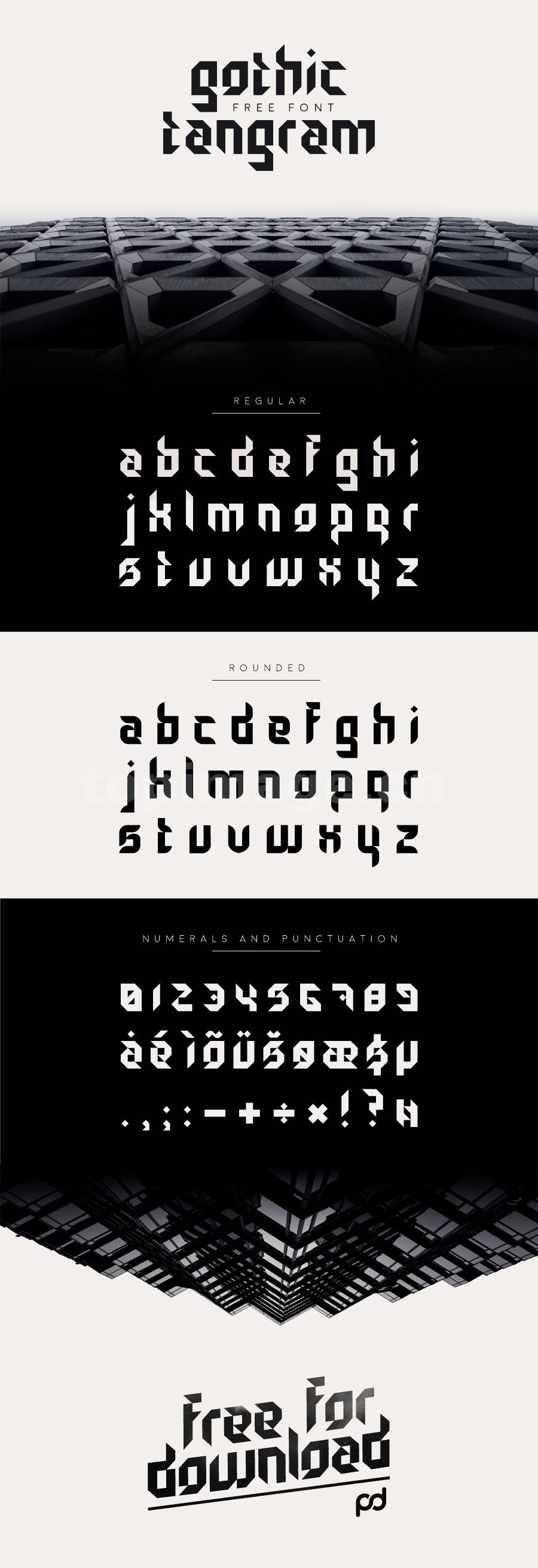 Gothic-Tangram哥特式简约异形个性化英文字体下载
