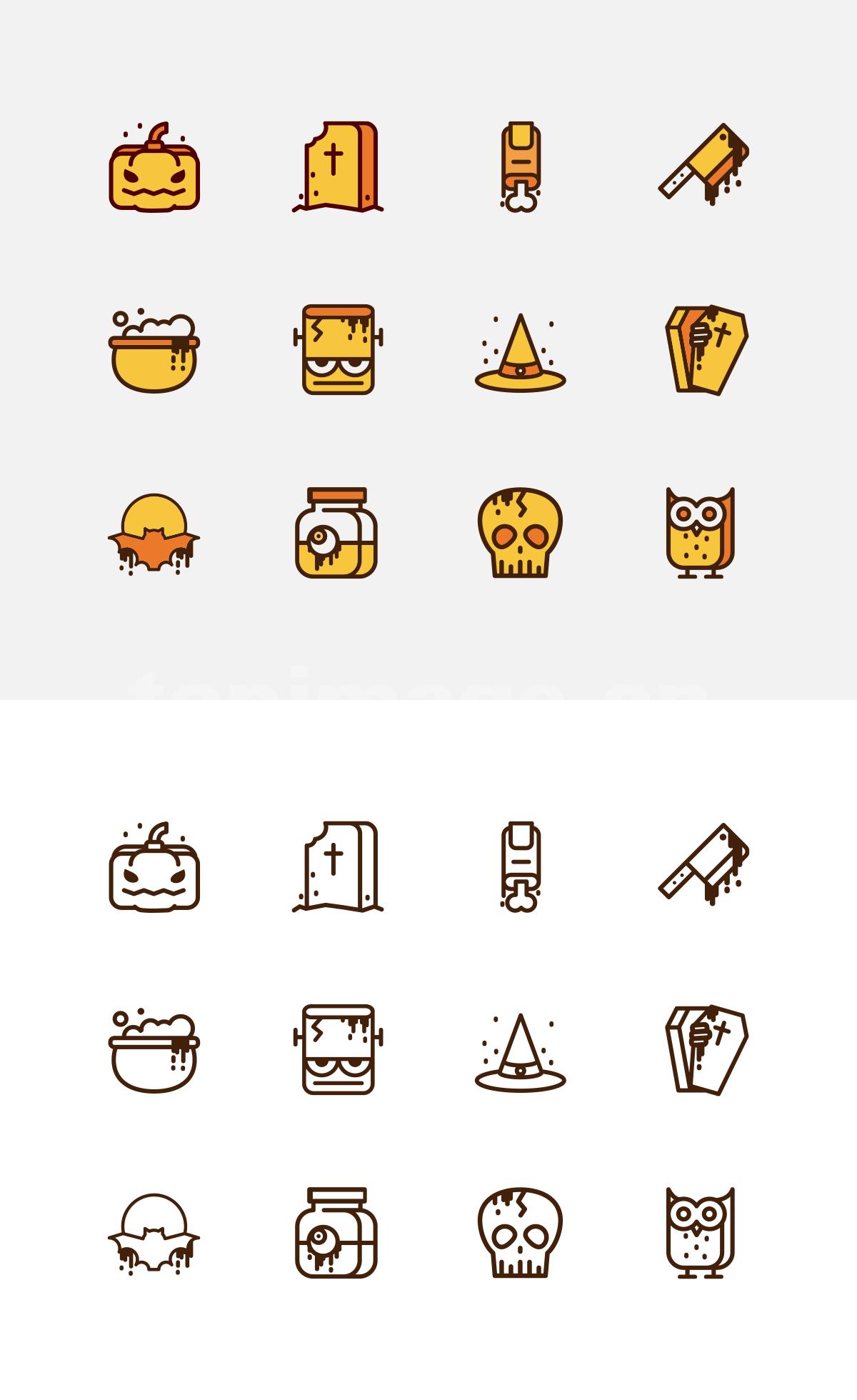 万圣节 南瓜 骷髅 猫头鹰 蝙蝠 魔法帽 菜刀图标icon源文件下载